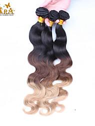 "3Pcs/Lot 14""-26"" Indian Virgin Hair Color 1B/4/27 Body Wave Human Hair Weaves"