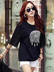 Tee-shirt Femme,Imprimé Décontracté / Quotidien Grandes Tailles simple Chic de Rue Eté ½ Manches Blanc Noir Coton Moyen
