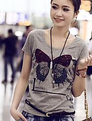 Kortermet T-skjorte Rund hals Bomull Kvinner