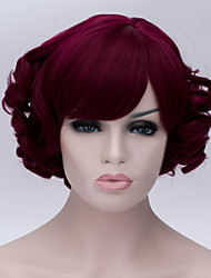 The New Cartoon Color Wig Wine Red Inclined Bang  Short Curly Hair Wigs