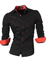 Camisas Casuales ( Algodón Compuesto )- Casual Cuello de camisa Manga Larga para Hombre