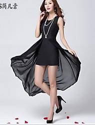 das mulheres sexy / bodycon / praia / casual / renda / festa / maxi / plus tamanhos micro-elástica vestido sem mangas midi (chiffon /