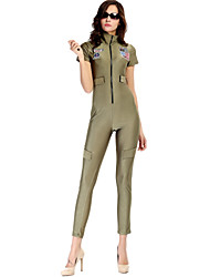 Women's Green Jumpsuits , Bodycon/Casual Short Sleeve