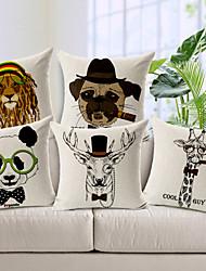 Jogo de 5 óculos e chapéus animais algodão / linho fronha decorativo