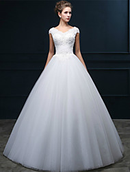 A-line Wedding Dress - Classic & Timeless Floor-length V-neck Tulle with Pearl / Beading / Criss-Cross / Appliques