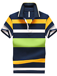 Men's Short Sleeve Polo , Cotton Casual Striped