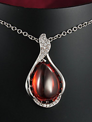 Hot Selling  18K White Gold Plated Pendant Necklace with Red Opal Flower Necklace