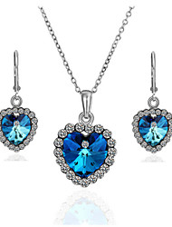 Arinna Fashion Jewelry Set Women 18k white Gold Plated the Blue heart of sea Necklace & Earrings Gift Set G1375
