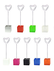 Lot 10pcs Color Cube Stand Heart Wire Place Card Holder Photo Memo Clip