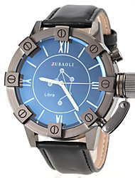 Men's Libra Pattern Black Leather Band Quartz Wrist Watch