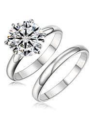 DAILY Women's 10mm 6.75ct CZ 6 Prongs Engagement Ring Set