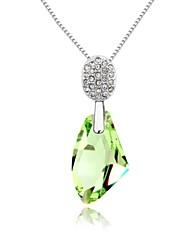splendide durée de vie courte collier plaqué 18K vrai péridot platine cristallisé pierres en cristal autrichien