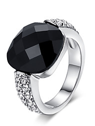 HKTC Square Black Acrylic Vintage Party Ring 18k White Gold Plated Austrian Crystals Jewelry