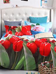 Mingjie flores vermelhas folhas conjuntos de cama 6d 4pcs queen size e roupa de cama de tamanho completo china conjuntos de cobertura
