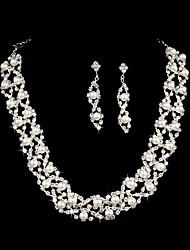 Schmuck-Set Damen Hochzeit Schmuck-Set Künstliche Perle / Legierung / Strass Strass Halsketten / Ohrringe Silber