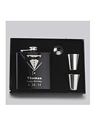 padrino de boda regalo personalizado 4 piezas de acero inoxidable negro frasco de 6 onzas en caja de regalo