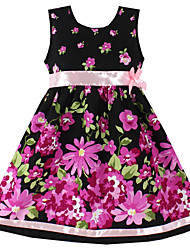 Girls Black Flower Print Party Casual Kids Clothing Princess Dresses (100% Cotton)