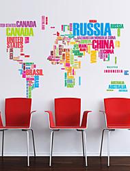 stickers muraux stickers muraux, monde anglais carte murale PVC autocollants