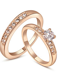 T&C Women's 18K Rose Gold Plated with Pave Band 0.5ct Brilliant Cubic Zirconia Wedding Ring Set