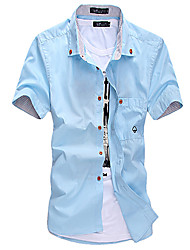 GZZG Men's Casual Square Short Sleeve Casual Shirts (Organic Cotton)