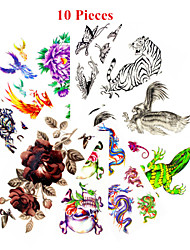 10PCS Mixed Patterns Temporary Tattoos Sticker Girl Women Flower Tattoos Arm Neck Tattoos
