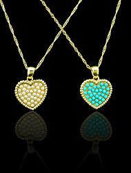 18K Real Gold Plated Pearl/Blue Heart Heart Pendant Necklace