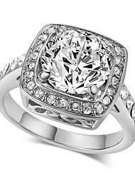 T&C Women's 18k White Gold Plated 4 Prong with Clear Austrian Cubic Zirconia Engagement Ring