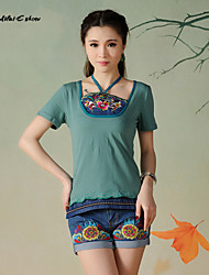 Milaieshow Women's China National Flowers Embroidery Halter T-shirt