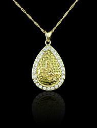 18K plaqué or véritable allah musulman pendentif zircon 2,5 * 4.3cm