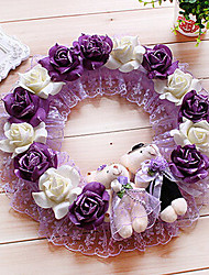 "13.8"" Rural Style Deep Purple White Simulation Flower Garland with Toy Bears Plastic Circle Garland"