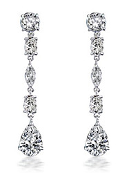 DAILY Women's Mixed Shape CZ Long Drop Bridal Earring