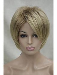nuevas raíces sombra de color marrón claro y rubio punta corta peluca sintética de las mujeres rectas