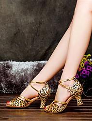 Women's Dance Shoes Latin Satin Chunky Heel Black/Blue/Purple/Red/Silver/Leopard