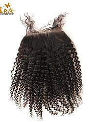 """10""""-20"""" Черный Полностью ленточные Крупные кудри Человеческие волосы закрытие Умеренно-коричневый Chinese Lace 60g/piece граммРазмер"""