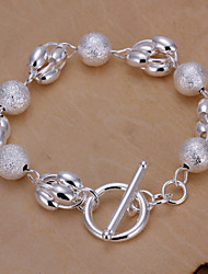Siver Plated Round Copper Chain Bracelet