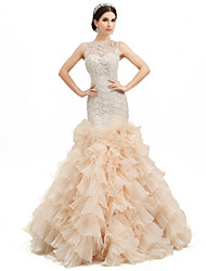 Trumpet / Mermaid Wedding Dress Wedding Dress in Color Floor-length Jewel Lace Organza Tulle Charmeuse withAppliques