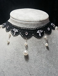 Handmade Elegant Classical Black Crystal Chain Lolita Necklace
