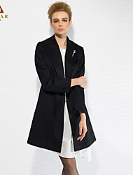 MISKAR Women's Work Medium Long Sleeve Long Coat (Wool/Fleece)
