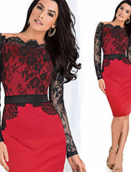 Nikki  Women's Vintage/Sexy/Bodycon/Casual/Lace/Work Long Sleeve Dresses (Lace/Polyester)