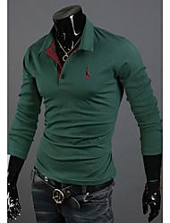 Men's Casual/Work/Sport Print Long Sleeve Regular Polos (Cotton Blends)