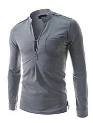 T-Shirts ( Coton/Lycra/Polyester ) Informel/Soirée/Travail Rond à Manches longues pour Homme