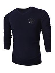 Herren Pullover-Druck Freizeit / Sport Baumwolle Lang Blau / Weiß / Grau