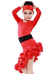 Dames / Kinderen-Latin Dans-Jurken(Zwart / Rood,Melkvezel,Roesjes)