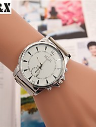 Masculino Mulheres Unissex Relógio Elegante Relógio de Moda Relógio de Pulso Quartzo Mostrador Grande Lega Banda Legal Prata Branco Preto