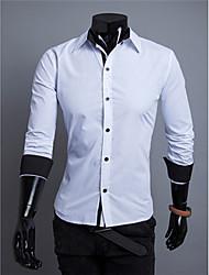 Camisas Casuales ( Algodón/Rayón )- Cosecha/Casual/Fiesta/Trabajo Manga Larga para Hombre