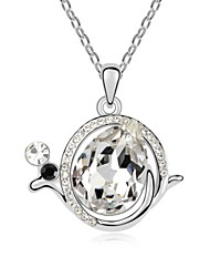 The Snail Short Necklace Plated with 18K True Platinum Crystal Clear Crystallized Austrian Crystal Stones