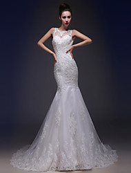 Trumpet / Mermaid Wedding Dress Court Train Bateau Tulle / Charmeuse with