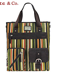 Kate@Co.® Women's Pvc Figured Cloth Vertical Stripe Leisure COLorful Multifunctional Canvas Bag(14 Inch)