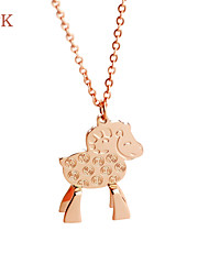 OPK®Copper Relief Chinese Zodiac Sheep Ms 18 K Gold Plating Titanium Necklace