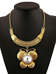 Alloy Gold Plated Butterfly With Cubic Zirconia Fashion Necklac